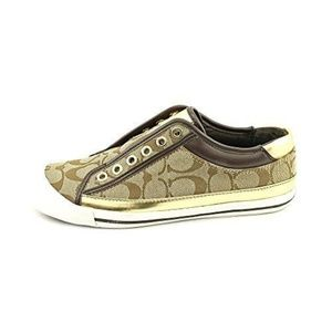"Coach Felix"" Signature Logo Metallic Gold Sneakers"